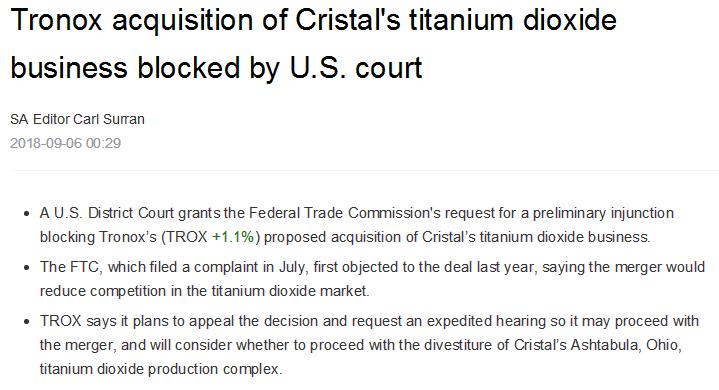 美国法院已停止Tronox对Cristal钛白粉业务的收购- 商品动态- 生意社